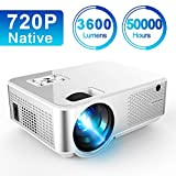 Mini Projector 3600 Lumens, Native 720P Full HD Ifmeyasi Portable Video Projector for Home Outdoor Movie, Support 1080P, 2HDMI, 2USB, AV, VAG for Smartphones PC Laptop Video Games