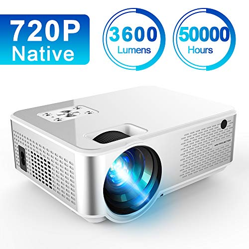 Mini Projector 3600 Lux, Ifmeyasi Portable Video Projector Native 720P Full HD, LCD LED Home Outdoor Theater Projector, Support 1080P with 2HDMI, 2USB, AV, VAG for Smartphone PC Video Games (Best 720p Projector Under 500)