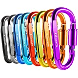"Gimars 8 Pack 3"" Improved Durable Screw Locking & Spring Gate D Shape Aluminum Carabiners Clips Hook for Home, Rv, Camping, Fishing, Hiking, Traveling and Keychain"