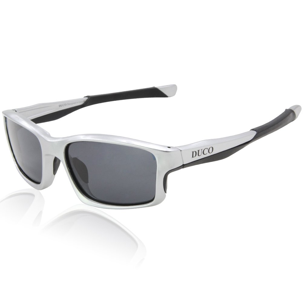 Duco Full Rim Polarized Sunglasses For Sports Running Cycling Fishing TR90 Unbreakable Frame 6177 (Silver Frame Gray Lens) by DUCO