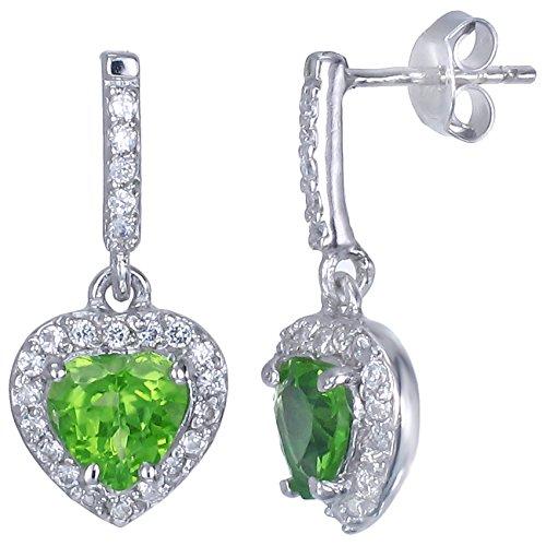 Sterling Silver Peridot Heart Earrings (1.20 CT)