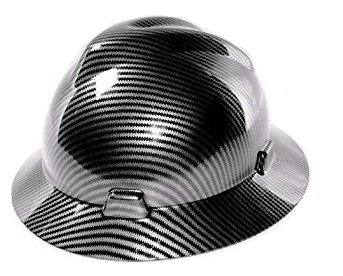 Safety Hard Hat Full Brim 6 Point Ratcheting System, Meets ANSI Z89.1, Personal Protective Equipment Carbon Fiber Design [Black] by Ridgerock            (Image #3)