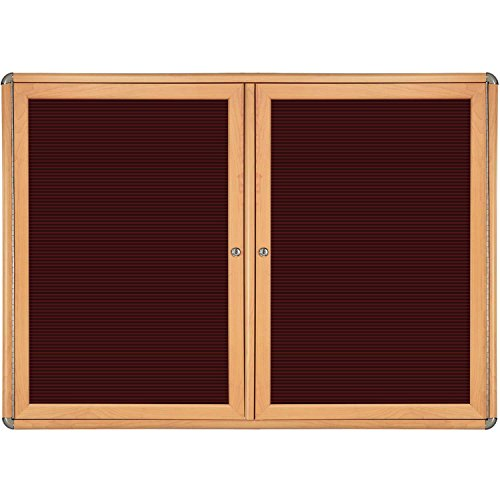 Ovation 2-Door Ovation Wood Look Felt Letter Board Size: 36'' H x 60'' W x 2.13'' D, Frame Finish: Maple, Color: Chrome by Ghent