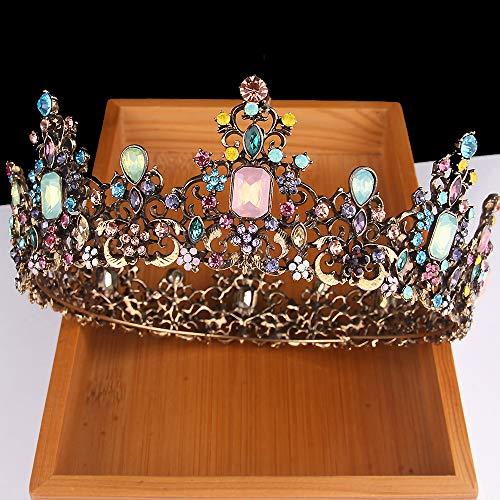 (Penxina Jeweled Baroque Queen Crown - Rhinestone Wedding Bridal Round Tiaras Hair Accessories with)
