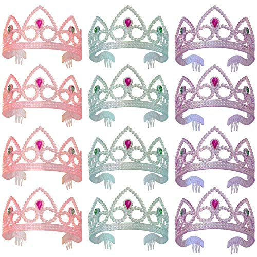 XiangGuanQianYing Colorful Princess Party Tiaras Assorted Colors 12 Pack ()
