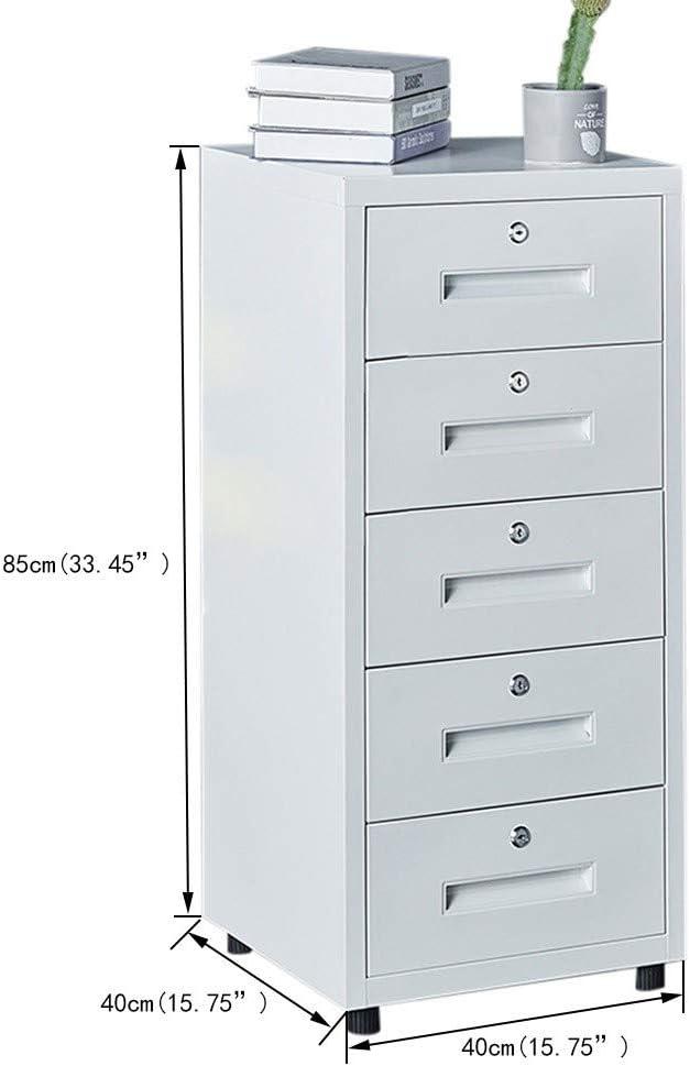 File Storage Cabinet Kommode Mobil Kommode mit Schloss Haus Schlie/ßf/ächer CML Home Datei-Kabinett for B/üroschr/änke Weiss