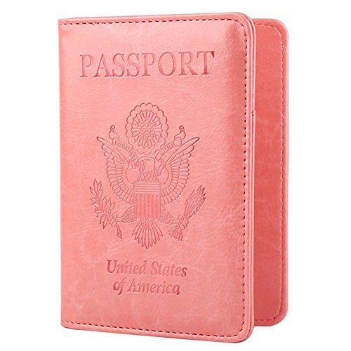 GDTK Leather Passport Holder Cover RFID Blocking Travel Wallet (Pink)