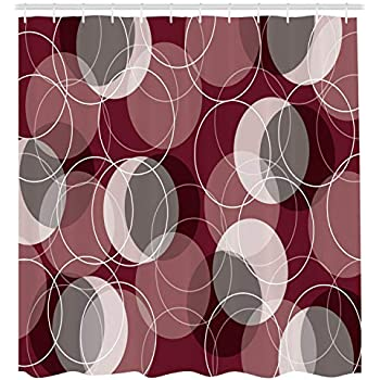 Ambesonne Maroon Shower Curtain By Retro Skinny Ring Shapes Overlapping Circles Funky Groovy Artistic Optical