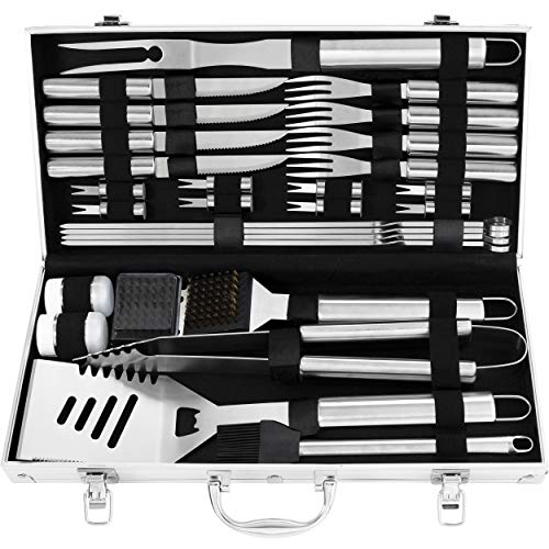 grilljoy 29PCS BBQ Grill Tool Set - Steak Knife& Fork, Sptula, Tongs and Cleaning Brush - Complete Barbecue Accessories in Aluminum Storage Case - Perfect Grilling Set Gift