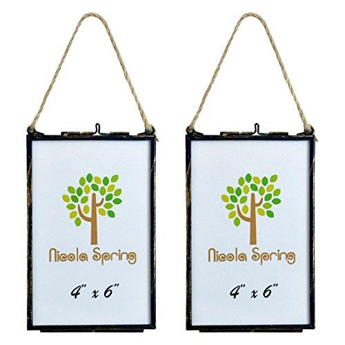 Nicola Spring Hanging Glass Vintage Photo Frame With Rope - 4x6 Photos - Pack Of 2 by Nicola Spring