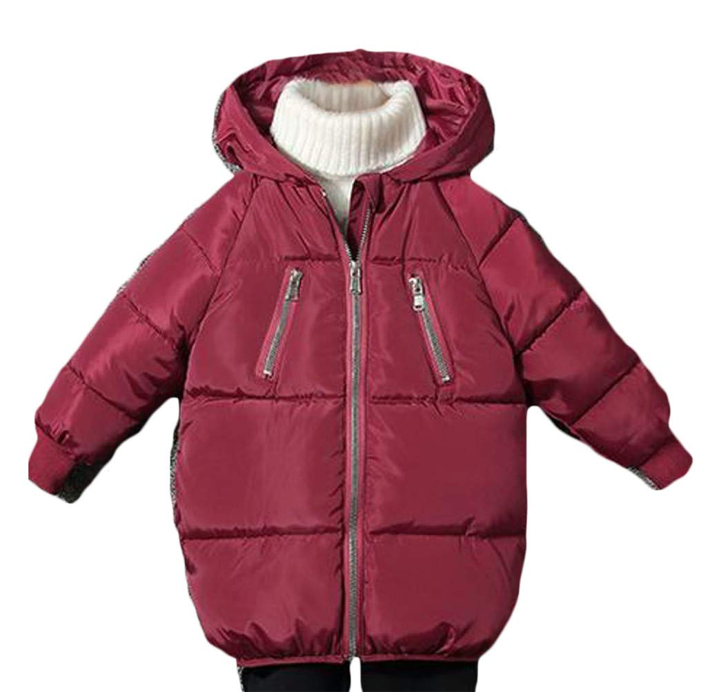 Cromoncent Boy Padded Hooded Quilted Zip Pocket Casual Down Jacket Parka Coat Claret 5T