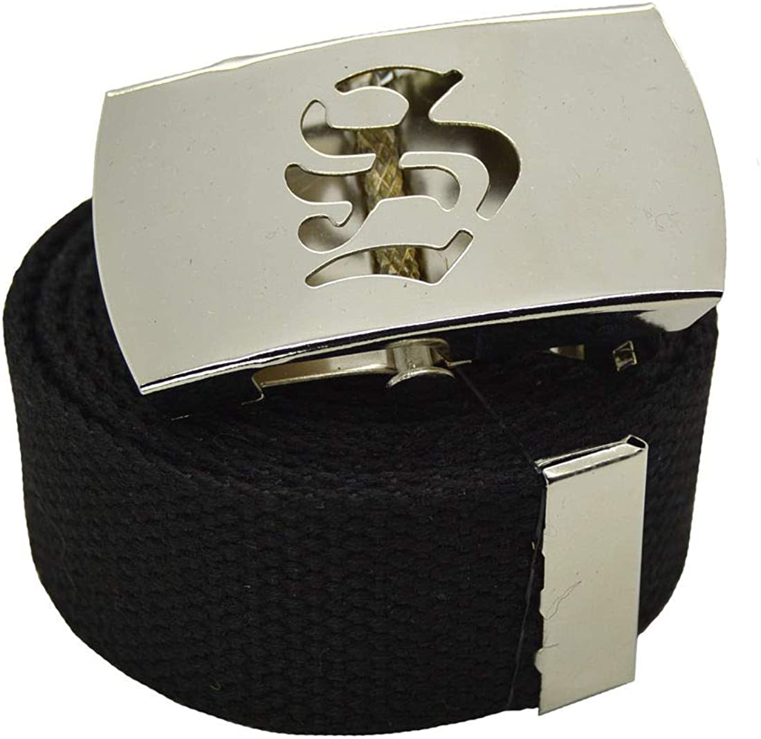 Top Canvas Web Belt Military Style Old EnglishZ Chrome Buckle /& Belt 72 #AAAS