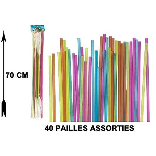 Out of the blue - 40 pailles géantes 70 cm couleurs assorties
