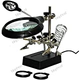 Tiny Deal TDL14132 Multipurpose Precision Welding Machine Iron Stand with Magnifying Glass and 5 LED Lamps (Multicolour)