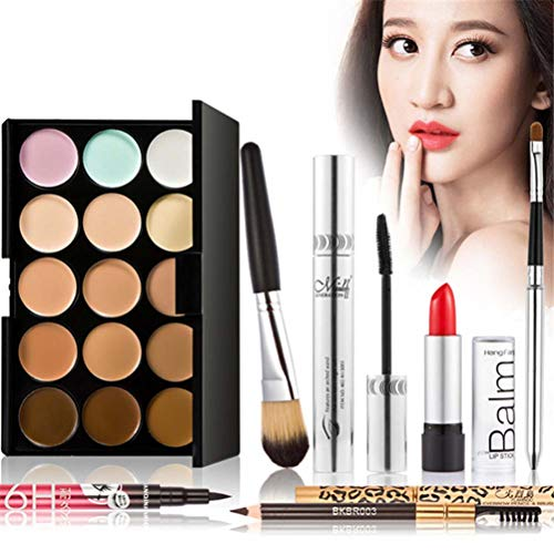7pcs Eyeshadow Palette Makeup Set Eye Shadow Lip Gloss Blush Lip Liner Set