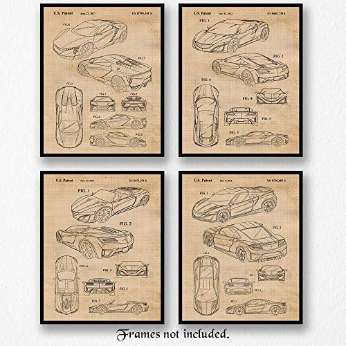 Original Acura Honda NSX & Concept Patent Poster Prints, Set of 4 (8x10) Unframed Photos, Wall Art Decor Gifts Under 20 for Home, Office, Man Cave, College Student, Teacher, Japan Cars & Coffee Fan