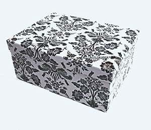 """Caja de regalo """"de estilo barroco y"""" colour negro sobre blanco~caja de regalo de cartón, 30x24x12 cm"""