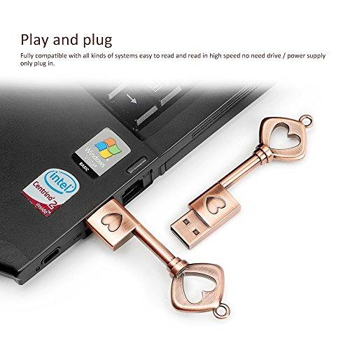 CHUYI Metal Heart Key Shape 16GB USB 2.0 Flash Drive Pen Drive Memory Stick USB Flash Disk Thumb Drive Christmas Gift by CHUYI (Image #7)