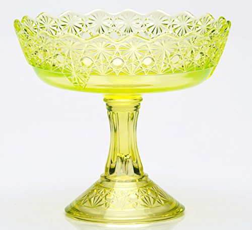 Compote - Queen's Pattern - Mosser Glass - USA American Made (Vaseline)