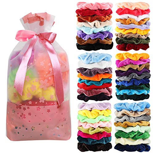50 Pcs Velvet Hair Scrunchies Assorted Color Elastics Hair Bands Hair Ties Hair Accessories for Women or Girls ...