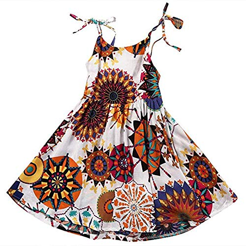 ModnToga Kids Baby Girls Sleeveless Bohemian Flower Princess Dress Halter Dress Summer Clothes (White #1, 4T(110))]()