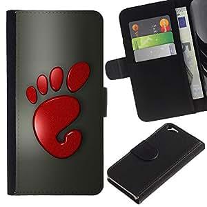 KingStore / Leather Etui en cuir / Apple Iphone 6 / Cute Funny Red Foot Print