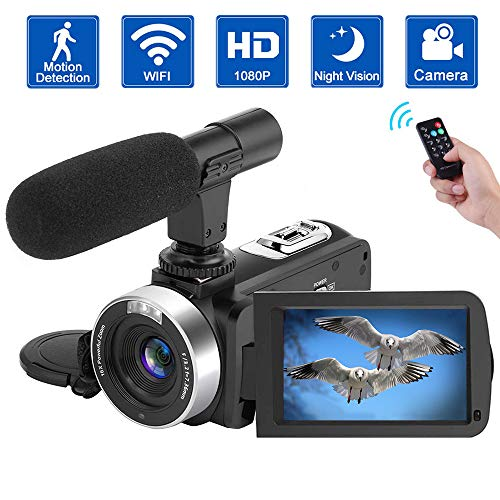 Camcorder Video Camera Full HD 1080P Digital Camera WiFi IR Night Vision Function Vlogging Camera with External Microphone