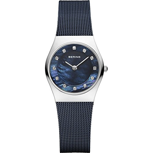 Bering Women's Classic 27mm Blue IP Steel Bracelet Steel Case Sapphire Crystal Quartz Watch 11927-307