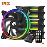 Asiahorse Solar ECLIPSEIII-120mm Three Light Loop RGB Interactive Music Cooling Fan with 3nd gen RF Remote Controller for PC Case,Water Cooling Radiators System(6 Pack)
