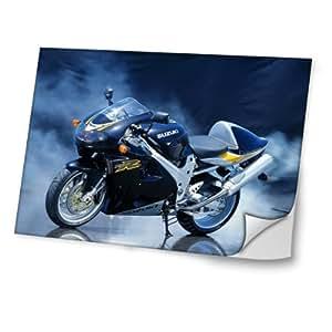 Motocicleta 10025, Diseño Mejor Pegatina de Vinilo Protector con Efecto Cuero Extraíble Adhesivo Sticker Skin Decal Decorativa Tapa con Diseño Colorido para Portátil 19''.