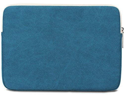 14 pulgadas de la manga del ordenador portátil, BLOOMSTAR bohemio lienzo protector del bolso del cuaderno de la computadora cubierta de la caja para MacBook Pro MacBook Air (horizontal, azul) Azul horizontal