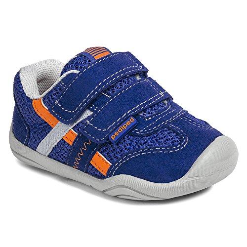 pediped Gehrig Grip-N-Go Sneaker (Toddler),Blue/Orange,19 EU (4-4.5 M US Toddler)