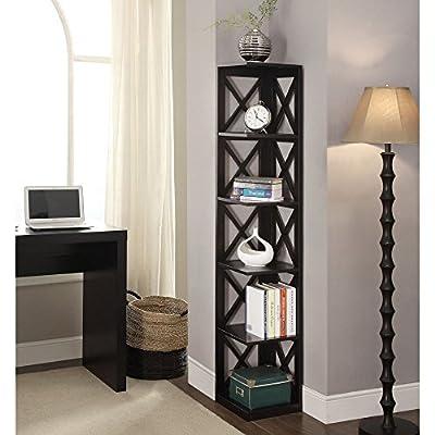 Convenience Concepts Oxford 5 Tier Corner Bookcase - Black