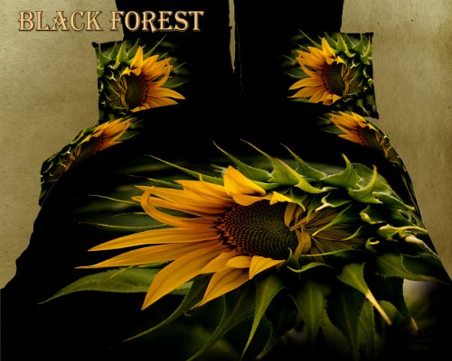Dolce Mela DM450K Black Forest Floral Duvet Cover Set, King