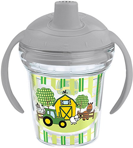 Tervis 1242385 John Deere Insulated Tumbler with Wrap and Moondust Gray Lid, 6oz My First Sippy Cup, Clear