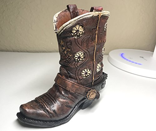 Polly House Small Western Cowboy Cowgirl Rustic Brown Belt Boot Vase Toothpick Pen Pencil Holder (B)