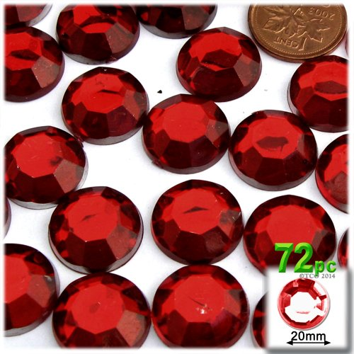 - The Crafts Outlet 72-Piece Flatback Round Rhinestones, 20mm, Devil Red Wine
