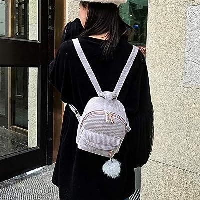 ❤️ Sunbona Schoolbag Girl Hairball Corduroy School Bag Student Backpack Satchel Travel Shoulder BagShoulder School Bag | Kids' Backpacks