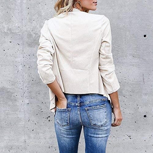 Maniche Mode Color Moda Size Giacca Outerwear M Forcella Aperto Cardigan Primaverile Beige A Casual Autunno Elegante marca Donna Vintage Camoscio Asimmetrica di Lunghe Cappotto wxRvUZqIBR