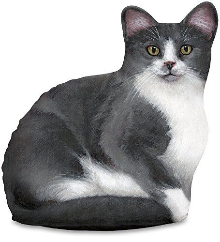 Fiddler's Elbow Gray & White Cat Door Stop, Decorative Door Stopper, Interior, Doorstop Unique, Cat Doorstop, Grey Cat by Fiddler's Elbow