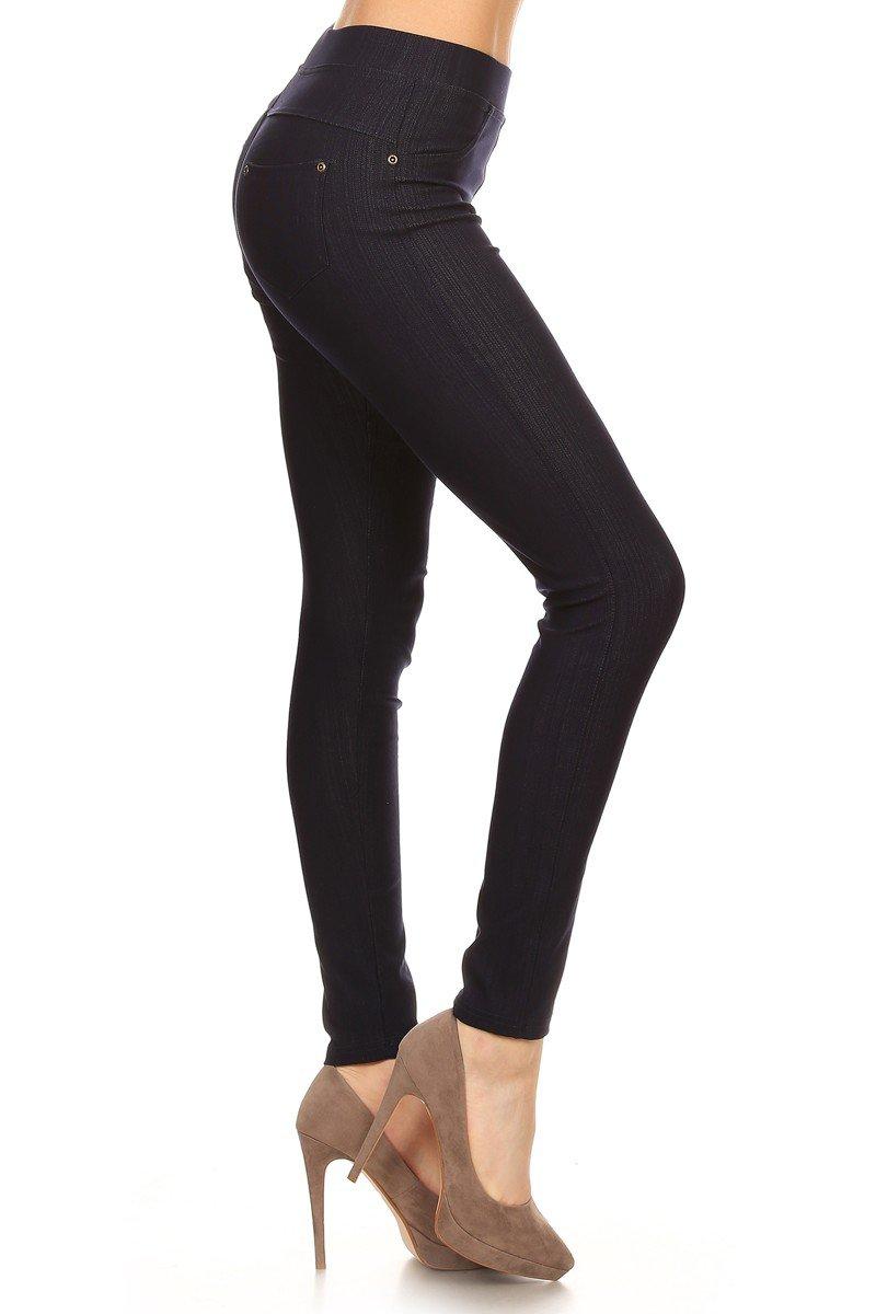 Leggings Depot Premium Quality Jeggings Regular and Plus Soft Cotton Blend Stretch Jean Leggings Pants w/Pockets (1X-2X, Navy)