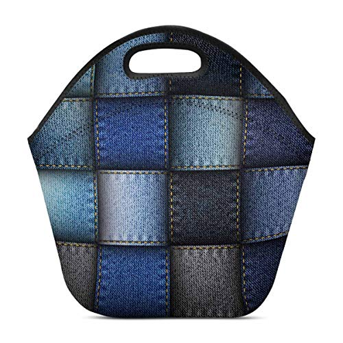 InterestPrint Modern Blue Jeans Patchwork Background Lunch Tote Bag Lunch Insulated Neoprene Waterproof Outdoor Travel Picnic Carry Case Handbags 11.93