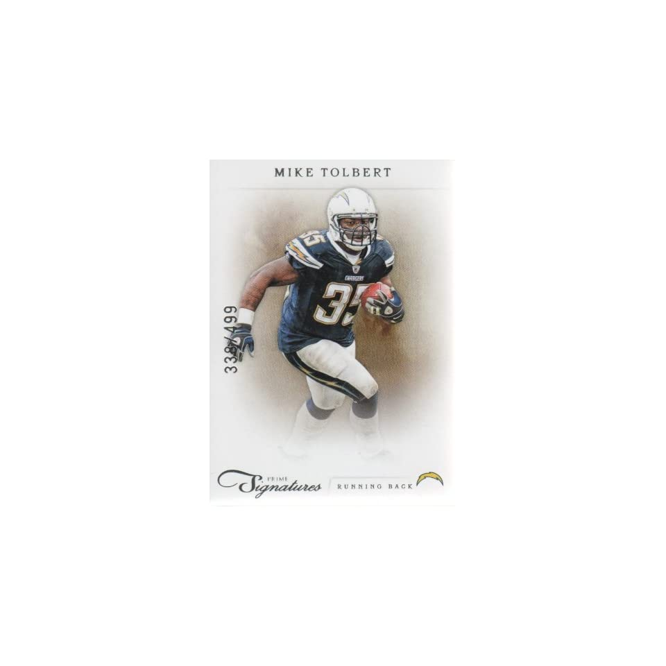 2011 Panini Prime Signatures Football #127 Mike Tolbert #d 338/499 San Diego Chargers NFL Trading Card