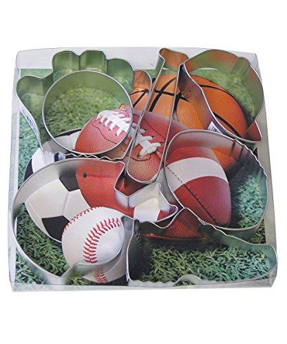 R&M International 1805 Sports Cookie Cutters, Baseball Cap, Bat, Glove, Football, Helmet, Sneaker, Circle, 7-Piece Set (Sports Cookie)