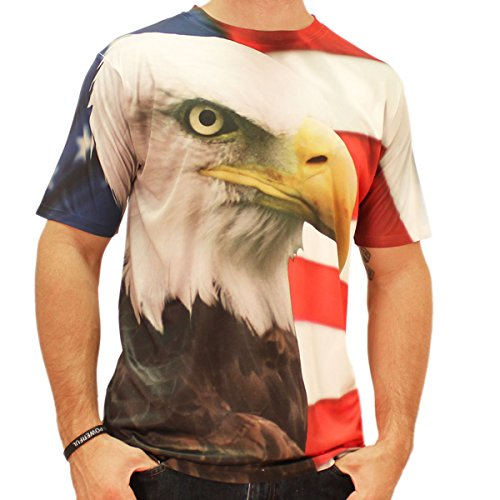 Eagle Flag Wrap Around Sublimated T-shirt (large)