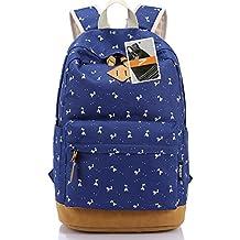 Leaper Lightweight Canvas Laptop Backpack Cute School Bags Deer Navy Blue