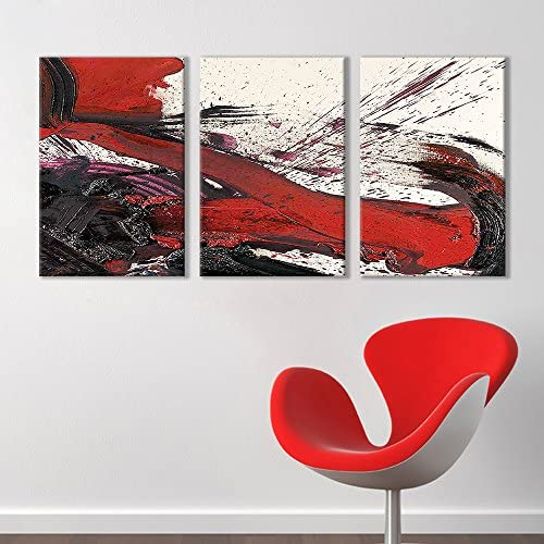 3 Panel Black and Red Abstract Splattered Brush Stroke x 3 Panels