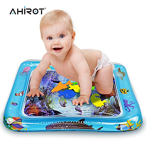 AHIROT Inflatable Baby Water Mat Infants Kids Tummy Time Play Mat as Fun Time Play Activity Center Your Baby's Stimulation Growth for Children … -