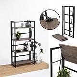 FurnitureR Estantes Plegables con 4 Repisas Estilo Industrial y Vendimia Elegante Librero Estantes de Almacenamiento para Cocina, Oficina, Sala