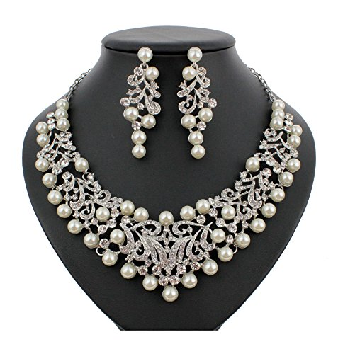lver Faux Pearl White Austrian Rhinestone Bib Necklace Earrings Set N922 (Silver) ()
